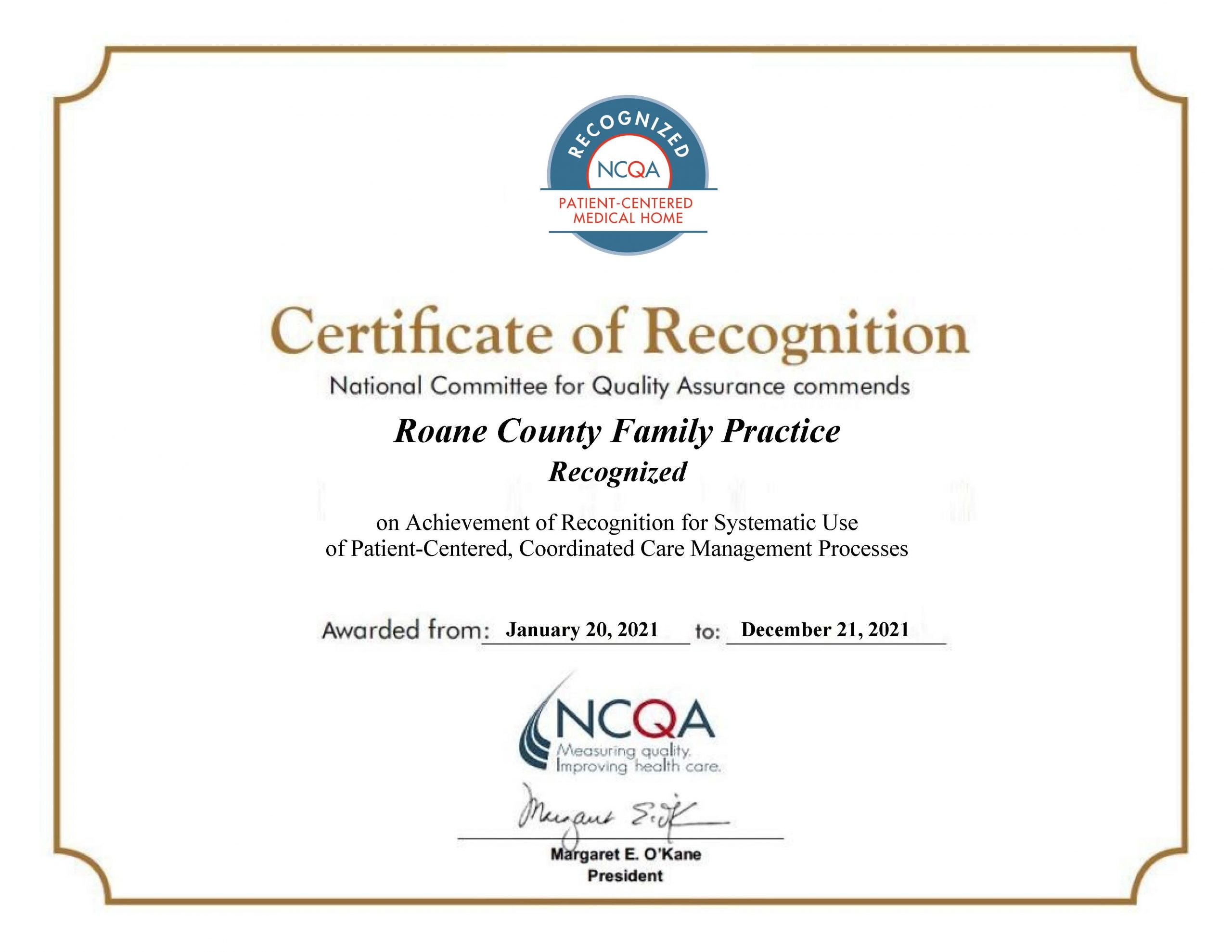 Roane County Family Practice Recognized as PCMH